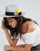 Helene Berman Grey Trilby With Multicoloured Pom Poms