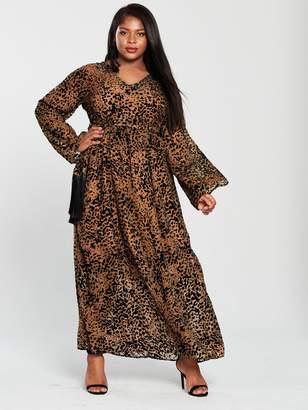 Lost Ink Plus Maxi Dress With Fringe Belt - Animal Print
