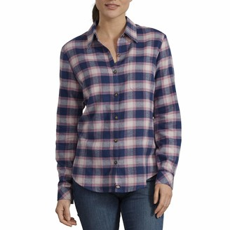 Dickies Womens Long-Sleeve Plaid Flannel Work Utility Button Down Shirt