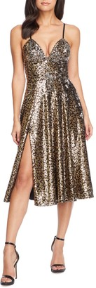 Dress the Population Mimi Leopard Sequin Cocktail Dress