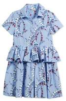 Fendi Floral-Print Collared Dress, Size 6-8