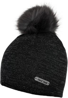Love Lola Womens Bobble Hats Beanie Lurex Thread Faux Fur Pom Pom Winter Woolly Knitted Ski Hats (Black)