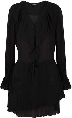 Paige Salome Black Plisse Silk Dress