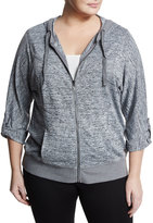 Marc NY Performance Plus Chevron-Knit Hooded Sweater, Gray, Plus Size