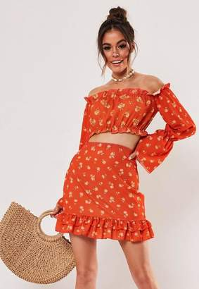 Missguided Red Ditsy Floral Co Ord Frill Detail Bardot Crop Top