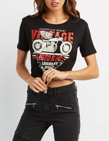 Charlotte Russe Motorcycle Graphic Knotted Tee