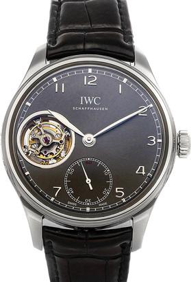 IWC Gray 18K White Gold Portugieser Tourbillon Hand-Wound IW5463-01 Men's Wristwatch 43 MM