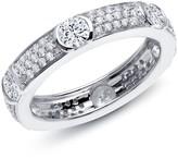 Lafonn Platinum Plated Sterling Silver Micro Pave Simulated Diamond Eternity Wedding Band