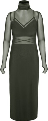 AFRM Long Sleeve Mesh Body-Con Dress