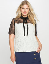 ELOQUII Plus Size Lace Tie Neck Blouse