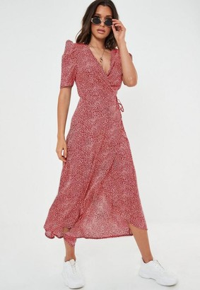 Missguided Red Printed Midi Wrap Dress