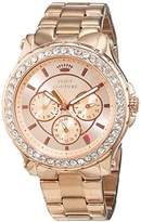 Juicy Couture Pedigree Women's Quartz Watch with Gold Dial Chronograph Display and Gold Rose Gold Bracelet 1901050
