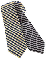 Black Brown 1826 Classic Fit Striped Silk Tie