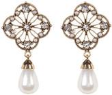 Natasha Accessories Flower Rhinestone & Faux Pearl Drop Earrings