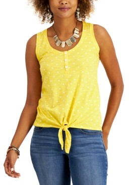 Style&Co. Style & Co Petite Printed Henley Tank Top, Created for Macy's