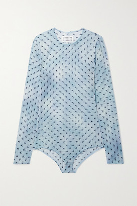 Maison Margiela Printed Stretch-silk Chiffon Bodysuit - Sky blue