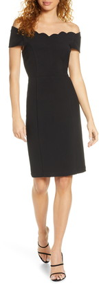 Harlyn Scallop Detail Off the Shoulder Sheath Dress