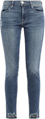 Frame Loren Distressed High-rise Skinny Jeans