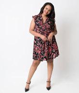Unique Vintage Plus Size Black & Cherry Blossom Marina Retro Flare Dress