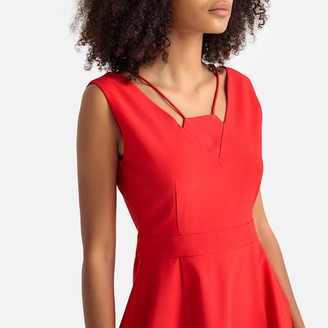 Molly Bracken Short Skater Dress with Cut-Out Neck Detail
