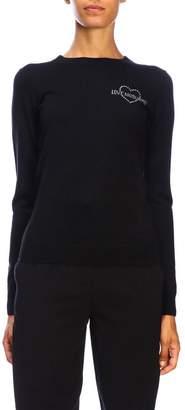 Love Moschino Sweater Tight-fitting Long-sleeved Sweater With Mini Rhinestone Logo