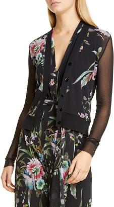 Fuzzi Floral Sheer Sleeve Cardigan