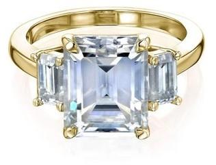 Annello by Kobelli 14k Gold 4.1 Carat TGW Three Stone Emerald-cut Moissanite Engagement Ring.