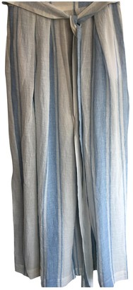 Three Graces London Blue Linen Trousers