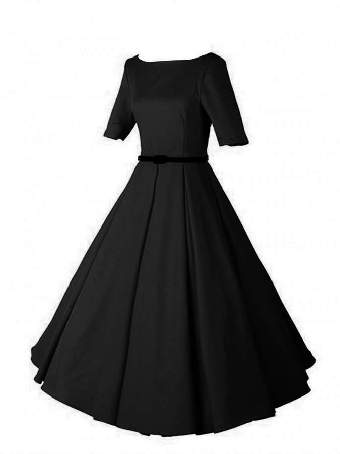 iLover Women's Retro Short Sleeve With Belt Casual Bridesmaid Vintage Dress