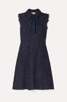 MICHAEL Michael Kors Pussy-bow Corded Lace Dress - Storm blue