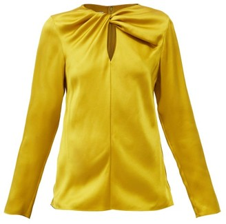 Giambattista Valli Twisted Keyhole-neck Silk-satin Blouse - Yellow Gold