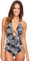 Figleaves Icon Coral Plunge Halter Strapping Swimsuit