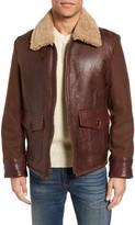 Schott NYC Men's Mixed Media Flight Jacket With Genuine Shearling Collar & Lining