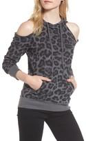 Splendid Women's Leopard Print Cold Shoulder Hooded Sweatshirt