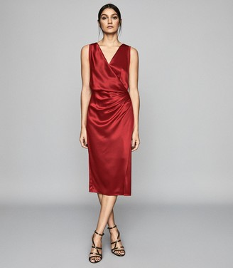 Reiss Lucine - Wrap Front Cocktail Dress in Red