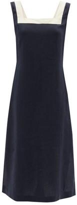 Casa Raki - Dani Organic-linen Midi Dress - Navy Multi