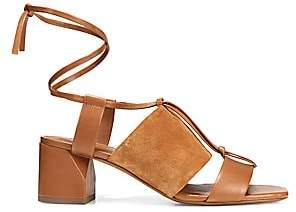 Vince Women's Dunaway Ankle-Wrap Suede & Leather Sandals