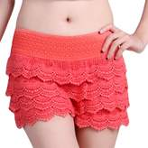 HDE Women's Fitted Scallop Hem Crochet Lace Mini Shorts