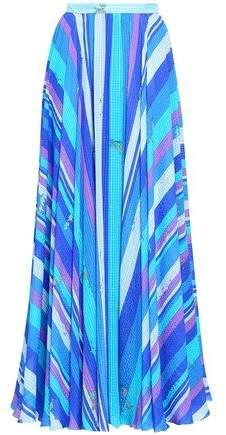 Striped Silk-seersucker Maxi Skirt