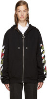 Off-White Black Embroidered Roses Hoodie