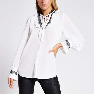 River Island Womens White lace trim tie neck blouse