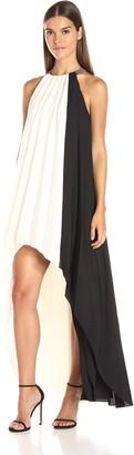 Halston Women's Sleeveless High Neck Pleated Colorblocked Hi-Low Dress