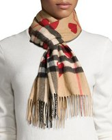 Burberry Cashmere Heart and Check Print Scarf