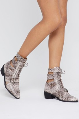 Nasty Gal Womens Cut-Out to Something Snake Strappy Boots - Beige - 7