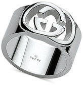 Gucci Women's Sterling Silver Interlocked GG Motif Wide Ring YBC190482001