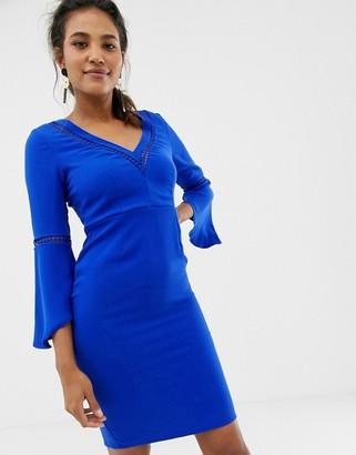 Paper Dolls V neck flute dress-Blue