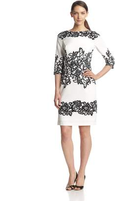 Adrianna Papell Women's 3/4 Sleeve Placed Print Lace Dress