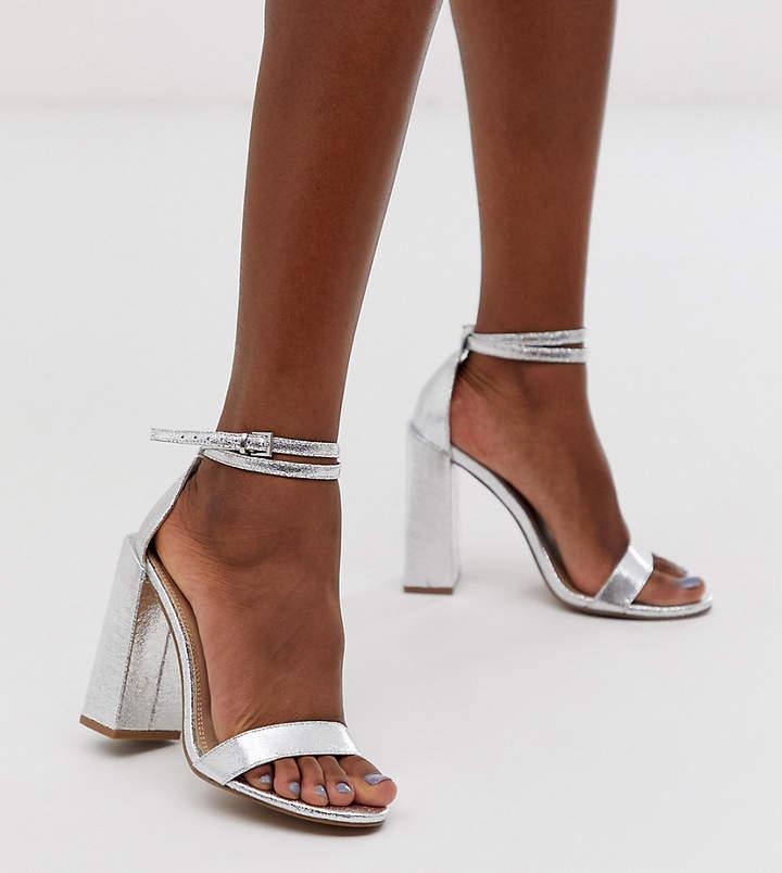 96ee30c521d Asos Design ASOS DESIGN Highlight heeled sandals in silver