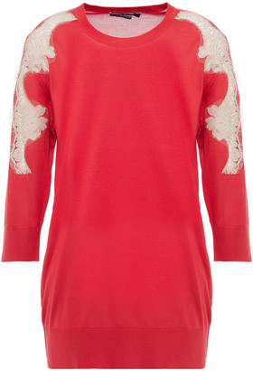 Dolce & Gabbana Corded Lace-paneled Silk Sweater