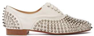 Christian Louboutin Freddy Spike-embellished Leather Oxford Shoes - Womens - White